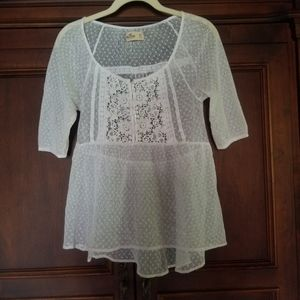 Hollister baby doll lace blouse